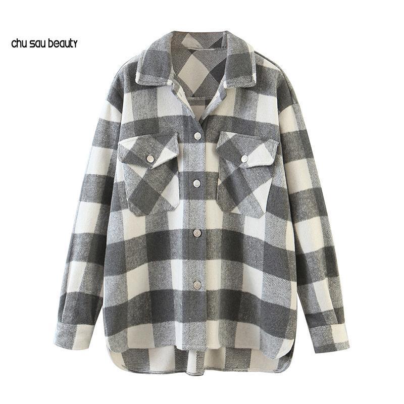 여성 빈티지 트위드 격자 무늬 셔츠 자켓 긴 소매 싱글 브레스트 코트 주머니가있는 칼라 숙녀 재킷 C204