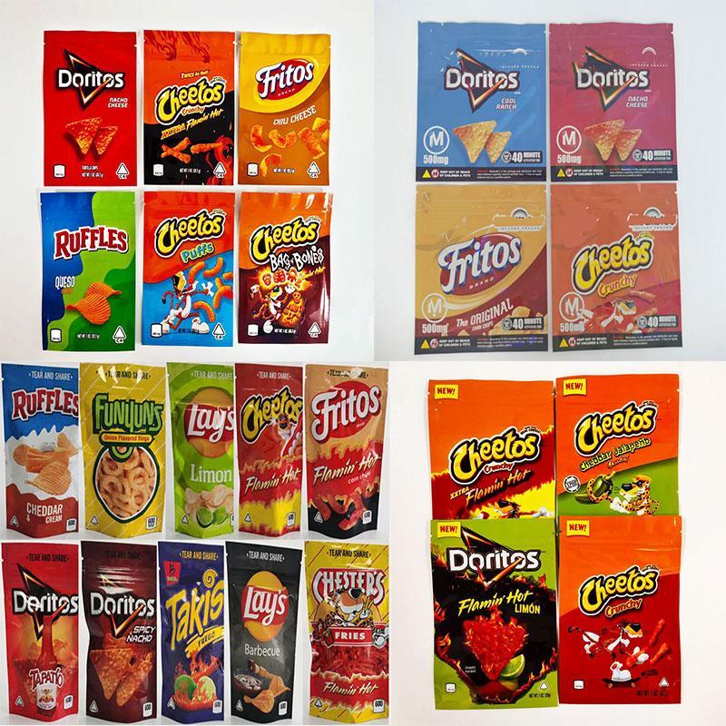 Sacos de embalagem batata microplaquetas medíveis 500mg cheetos maylar ediblable edibles Doritos Queijo Gummi Worm bag Ruffles Fritos