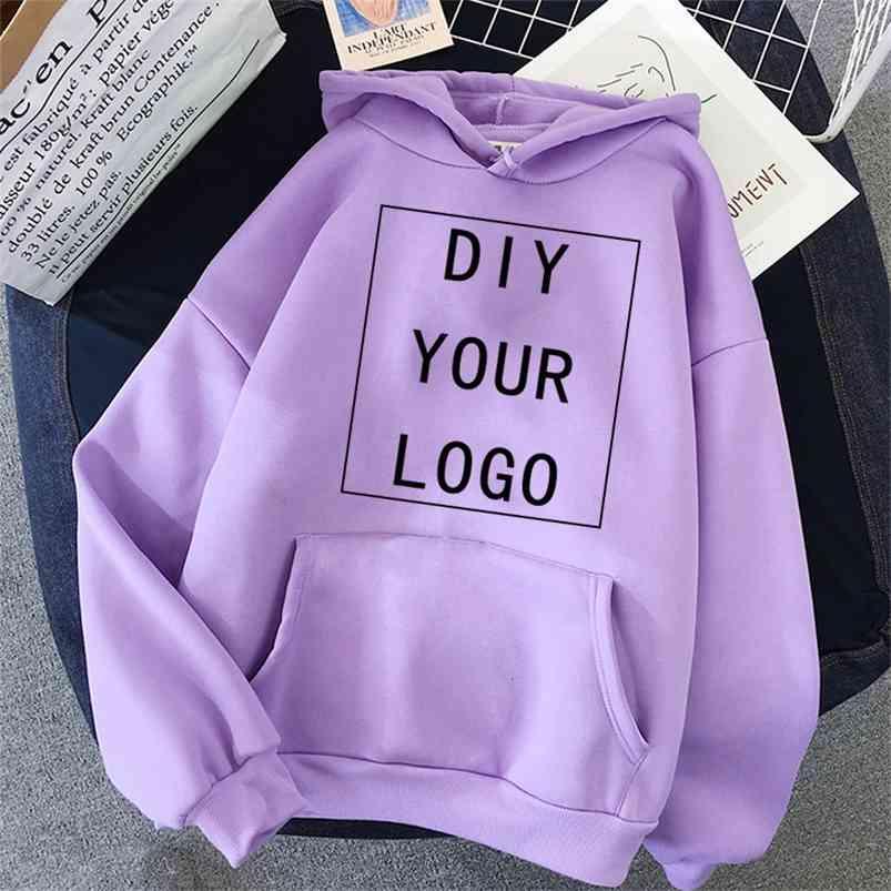 Bricolage votre sweat à capuche accepte personnalisée imprimer n'importe quel style unisexe à capuche Sweat-shirt occasionnel Harajuku Street surdimensionné Streetwear 210728