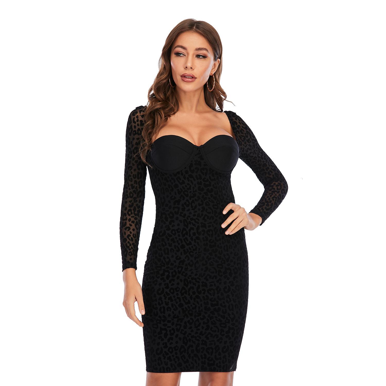 SWTAO Seksi Kadın Tasarımcı Siyah Leopar Bandaj 2021 Zarif Bayanlar Gece Bodycon Elbise Parti 3Q14