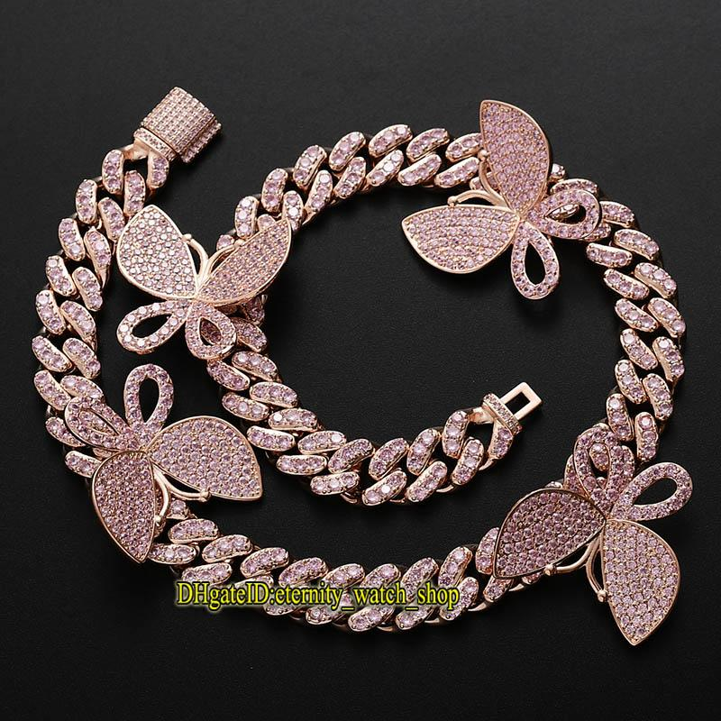 Eternidade novo hip hop cz diamantes embutidos borboleta rosa cadeia cubana Colar masculino 13mm cadeia clavícula gelado colar de diamantes para as mulheres