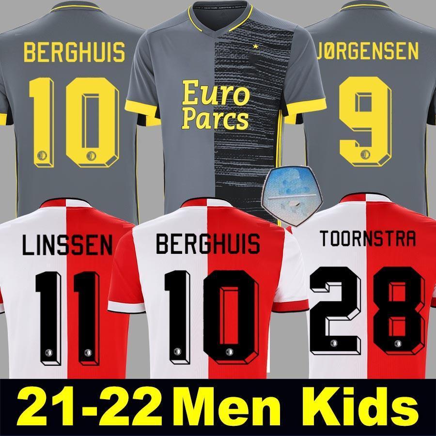 Feyenoords 21 22 Berghuis بعيدا رمادي كرة القدم جيرسي 2021 2022 Jorgensen Narsingh Bozenik Kokcu Toornstra El Bouchataoui Fer Football Shirt Men + Kids Kit Set
