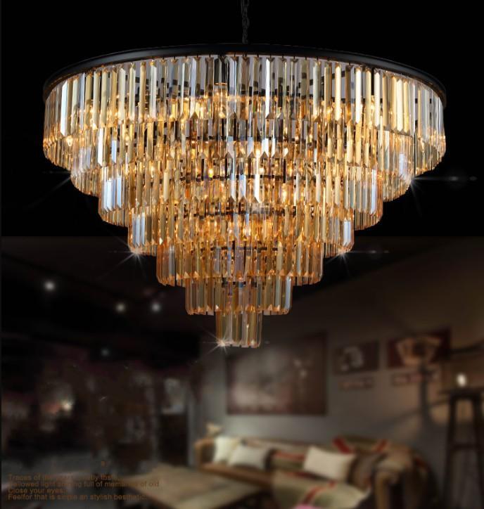 Nouveau style Crystal lustre lumineux luminaire luxe grand cristal lustres de cristal salon lampe suspension