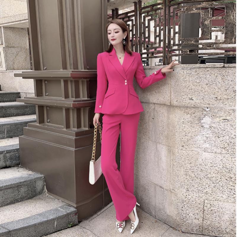 Женские брюки из двух частей 2021 ранней весенней моды темперамент сплошной цвет Blazer Slim Micro поперечный профессиональный костюм