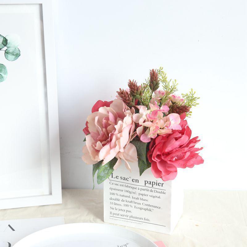 Dekorative Blumen Kränze Herbst Gefälschte Pfingstrose Blume Hortensie Künstliche Kunststoff Grüne Pflanzen Blumenstrauß Für Hochzeit Dekoration Zimmer DEC