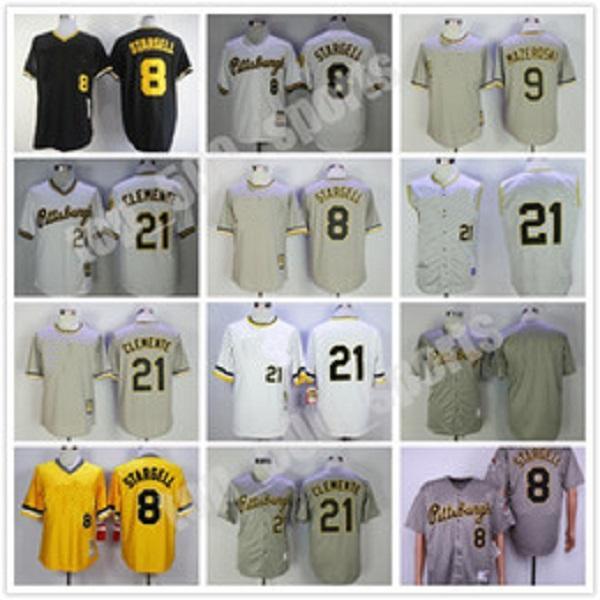 도매 남자 저지 8 윌리 스타 겔 9 빌 마자 로스 키 # 21 클레멘트 검은 노란색 회색 흰색 야구 유니폼