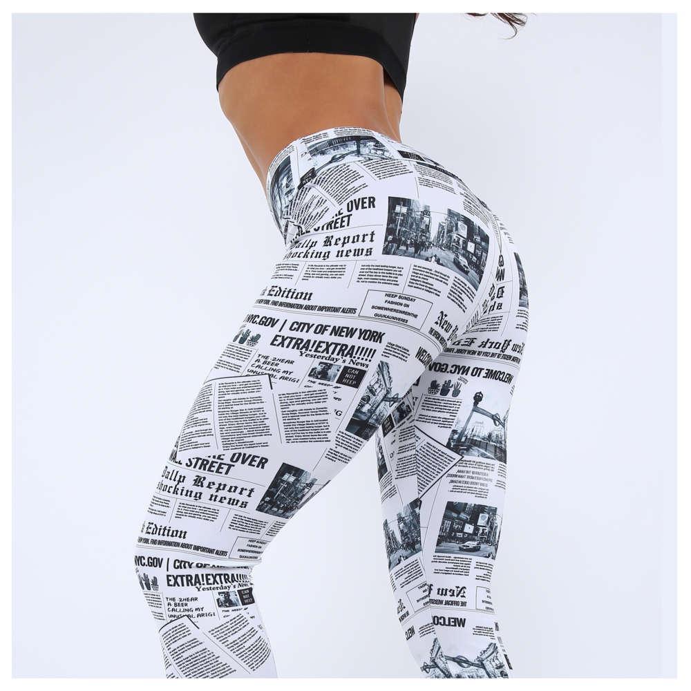 Новый Градиент Четыре Игла Шесть Линия Цифровая печатная газета Yoga Tight Capris Женская 9808