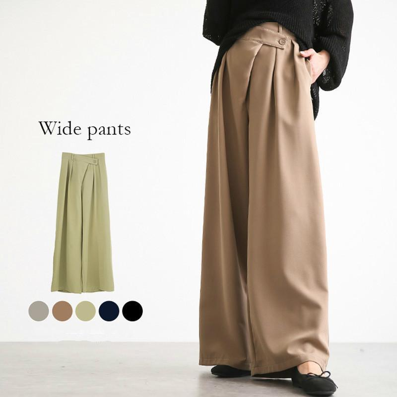 Pantalones casuales sueltos de la cintura alta de la cintura ancha de la pierna de la palanca de la dama Pantalones de la dama 2021 New Chic Color sólido Fondo femenino 0004