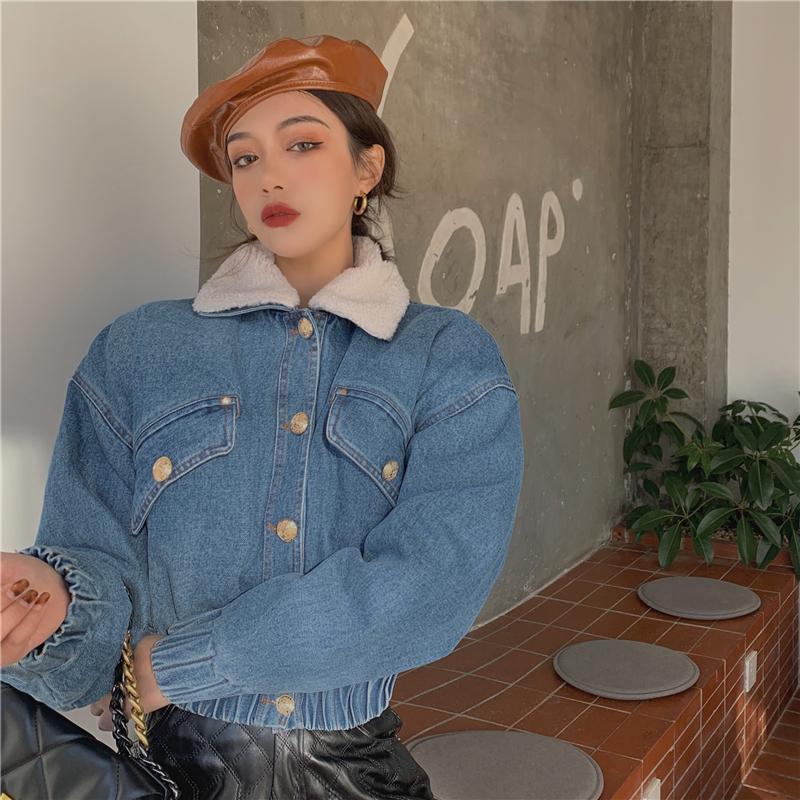 Женская джинсовая куртка зима 2021 новая свободная вышивка овечника шерсть утолщение теплый короткий кардиган топ джинсовая куртка женщин джинсовые куртки