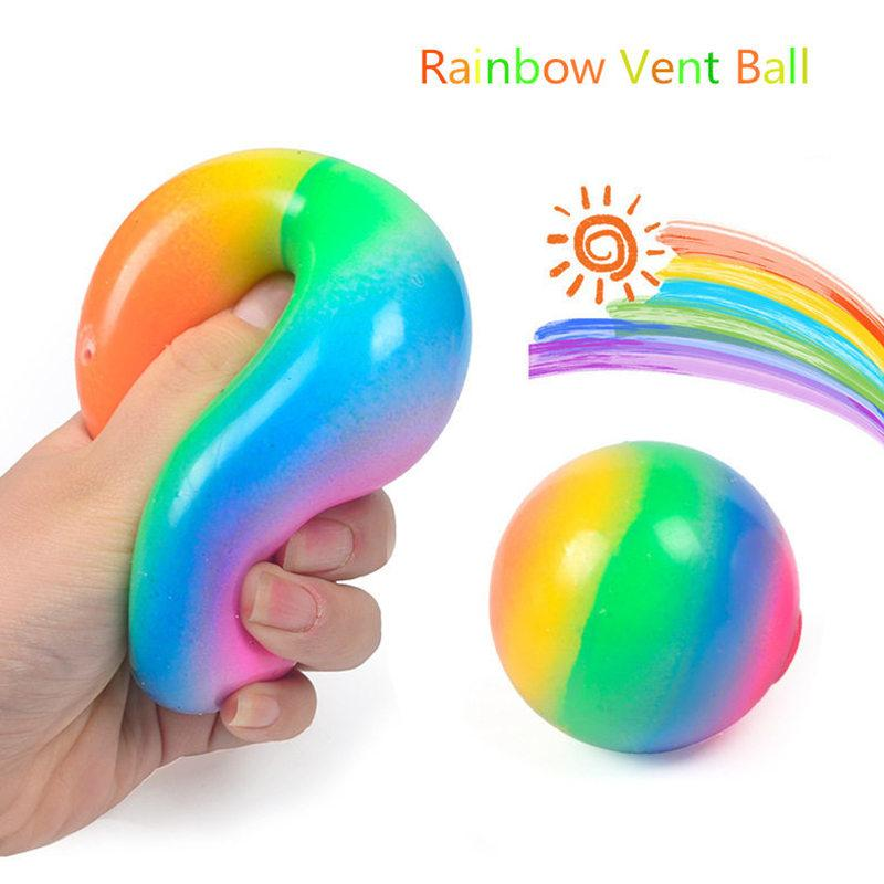 TRP Squish Squeeze Stressball Fidget Toys Rainbow Vent Ball Push Pop Foft Jelly Squishy Squeezy Decompression Balls Balloon Toy for Stress Relief Autism Anxiety