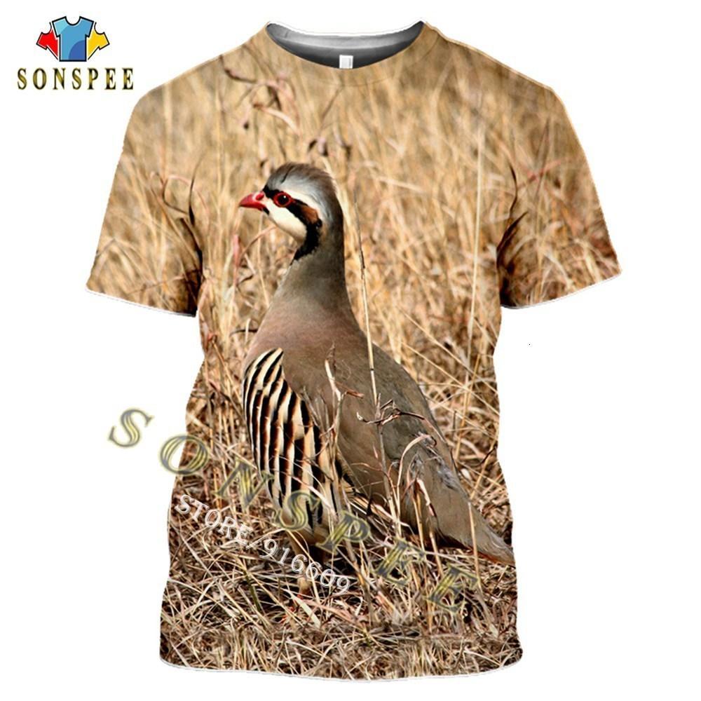 티셔츠 동물 사냥 파트리지 조류 3D 프린트 하라주쿠 여름 패션 캐주얼 남성 티셔츠 츄카 짧은 소매가 스트리트웨어 유니섹스
