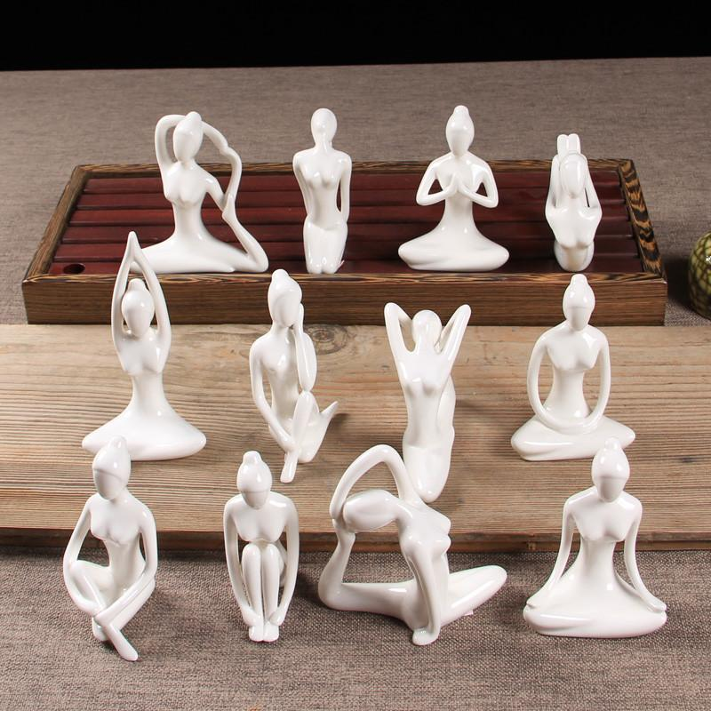 Keramik Abstrakte Kunst Verschiedene Yoga Posen Figur Weiß Porzellan Minimalistische Kreative Yoga Mädchen Statue Wohnkultur Ornamente