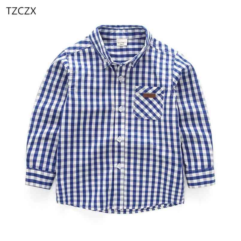 Promoción Llegada Niños Camisetas Casual Plaid Mangos de manga completa Ropa para niños de 3 a 10 años para niños usan 210713