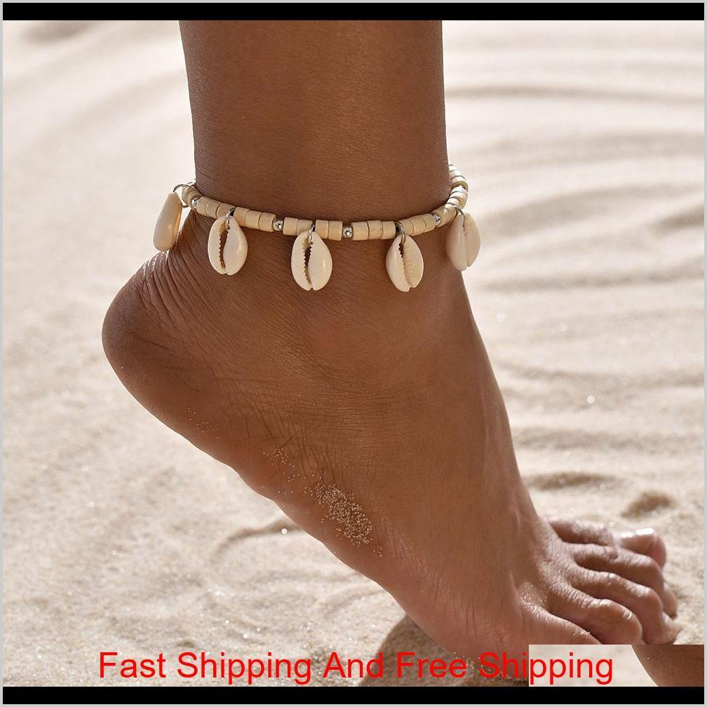Bohemian Mar Shell Anklet Para Mulheres Sementes Beads Correntes Dolphin Turtle Pingente Charme Praia Verão Barefoot Ankle B JLLUKB NANA_JEWEL