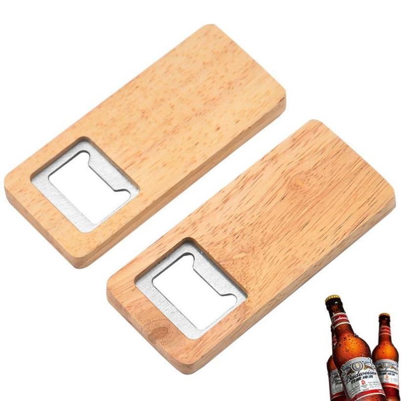 Abre de botella de cerveza de madera Sorteo de madera Sacacorchos de acero inoxidable Abres cuadrados Bar Cocina Accesorios 496