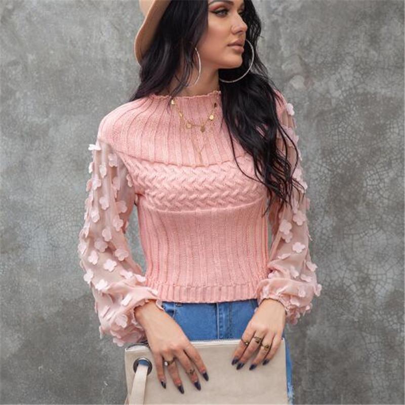 Frauenpullover Frauen Herbst Winter Langarm Pullover Rundhals Petal Puff Slim Top Pullover Lässige Streetwear