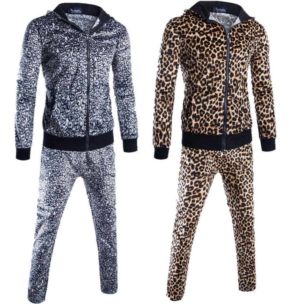 Top Quality 2020 Primavera Autunno Autunno Men's Suit Moda Leopard Stampa Stampa Fleece Uomo Abbigliamento Patchwork Zipper Cardigan Harem Set Felpe con cappuccio