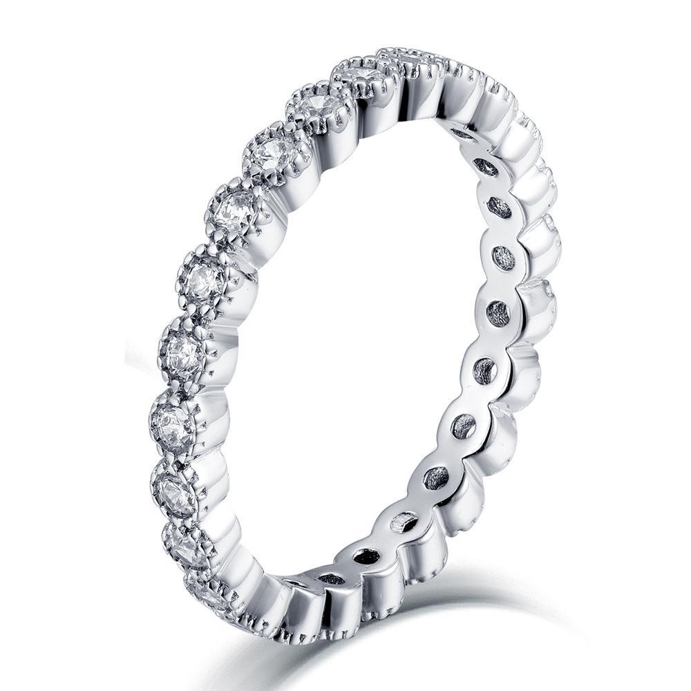 Aiyanishi top vendendo 925 esterlina prata anéis de festa de casamento com cúbico zircônia anel apto terno mulheres completas eternidade anéis atacado
