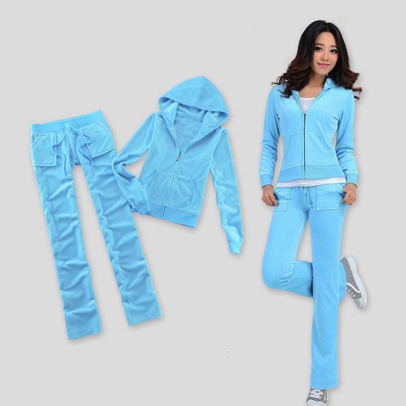 / Güz / 2021 Bahar kadın Marka Kadife Kumaş Eşofman Katı Renk Velor Kadınlar Track Suit Hoodies ve Pantolon Sapph T88R