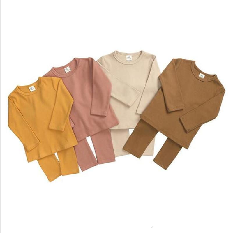 New 2021 Tales Wholesale Children Loungewear Baby Boys Girls Solid Lounge Set 2pcs Cotton Kids Clothes Sowj