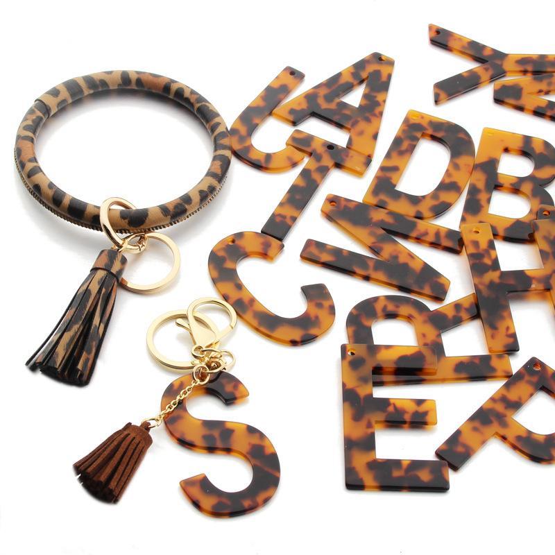 2021 Moda 26 Letras Acrílico Leopard Imprimir Chaveiro Colorido Lette Lette Borla De Couro Chaveiro Chaveiro Cadeia Fit Couro Pulseira