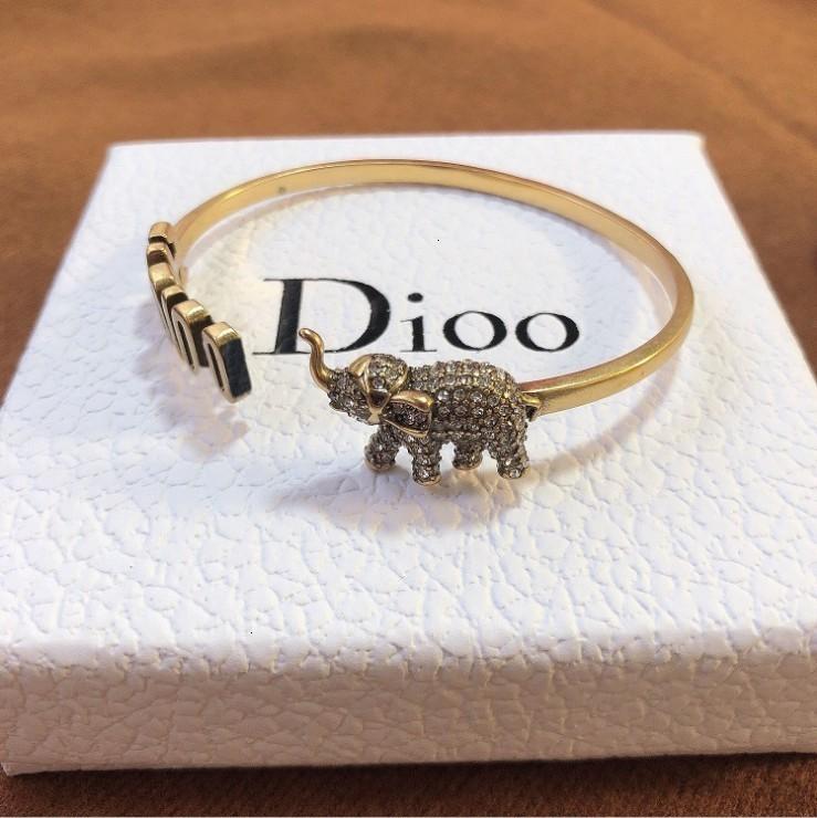 01 70% OFF / D Домашняя новая буква слон полный бриллиант высокой версии латунный браслет