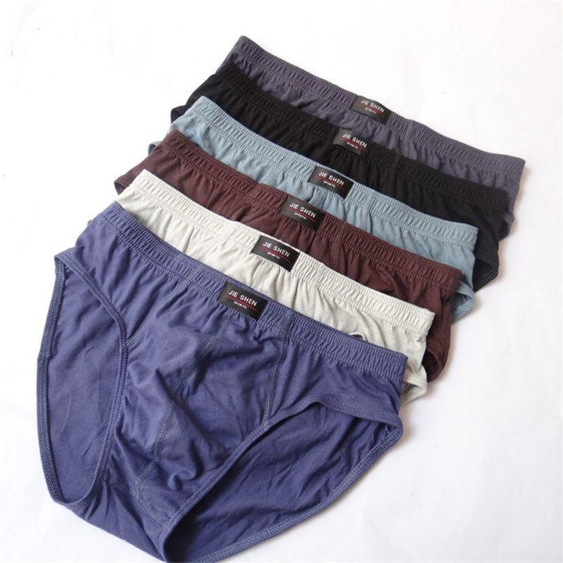 Cómodo y duradero 100% algodón más tamaño para hombres ropa interior L / XL / XXL / XXXL / 4xl / 5xl Bragas transpirables para hombres 1 unids