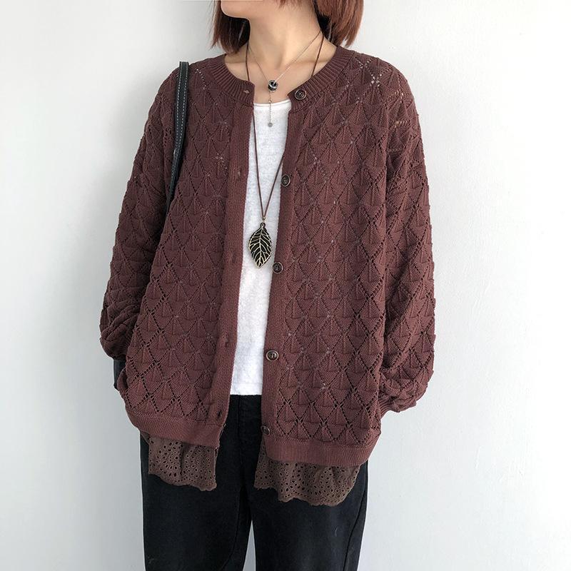 Johnature Woman Vintage Button Counters CardiGan O-Ceen с длинным рукавом с длинным рукавом 2021 осенью новое пэчворк выложил женские свитеры пальто