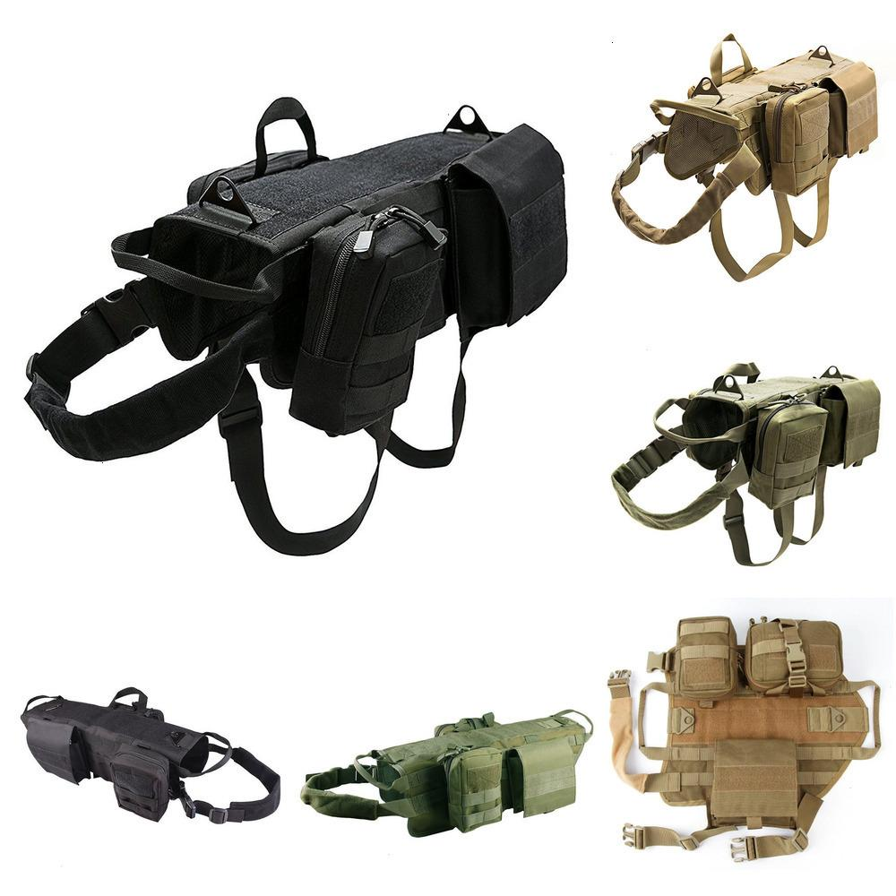 KYPTTactical Military Dog Vest Harness Set with Pouch Molle Pet Clothing Jacket Adjustable Nylon Large Dog Patrol Equipment