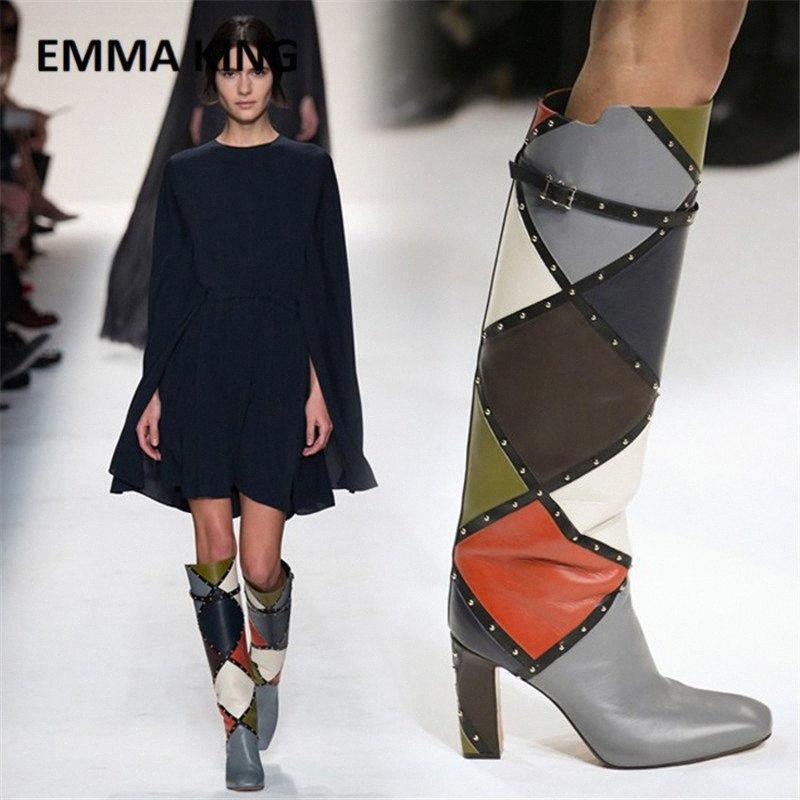 2019 Nova Moda Moda cor de cor alta botas de tacon sapato fivela embelezado mistura cor couro geométrico alto saltos mulheres botas sexy sh f7nk #