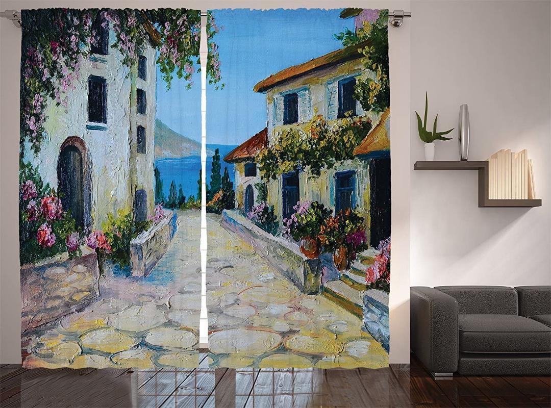 Cortina cortinas de cortinas rústicas casas vintage na vila perto do mar com plantas coloridas sala de estar quarto azul mostarda azul