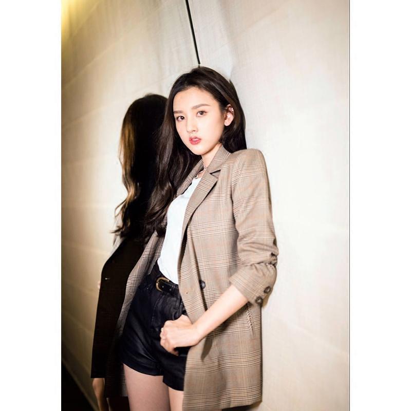 2021 Primavera y otoño blazer coreano chic retro plaid casual traje casual