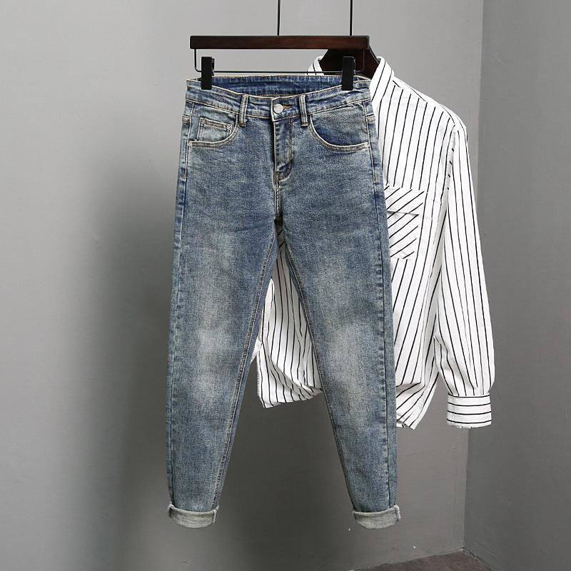 Men's Jeans 2021 Fashion Spring Autumn Men Denim Trousers Skinny Quality Stretch Male Slim Pencil Pants W505