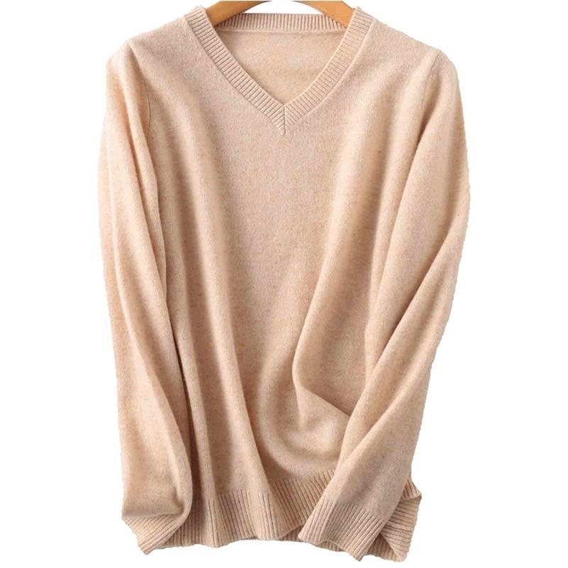 100% Merino Wool Women V-cuello suéter otoño invierno caliente suave punto suéter femme jumper mujeres jersey de cachemira lj201017