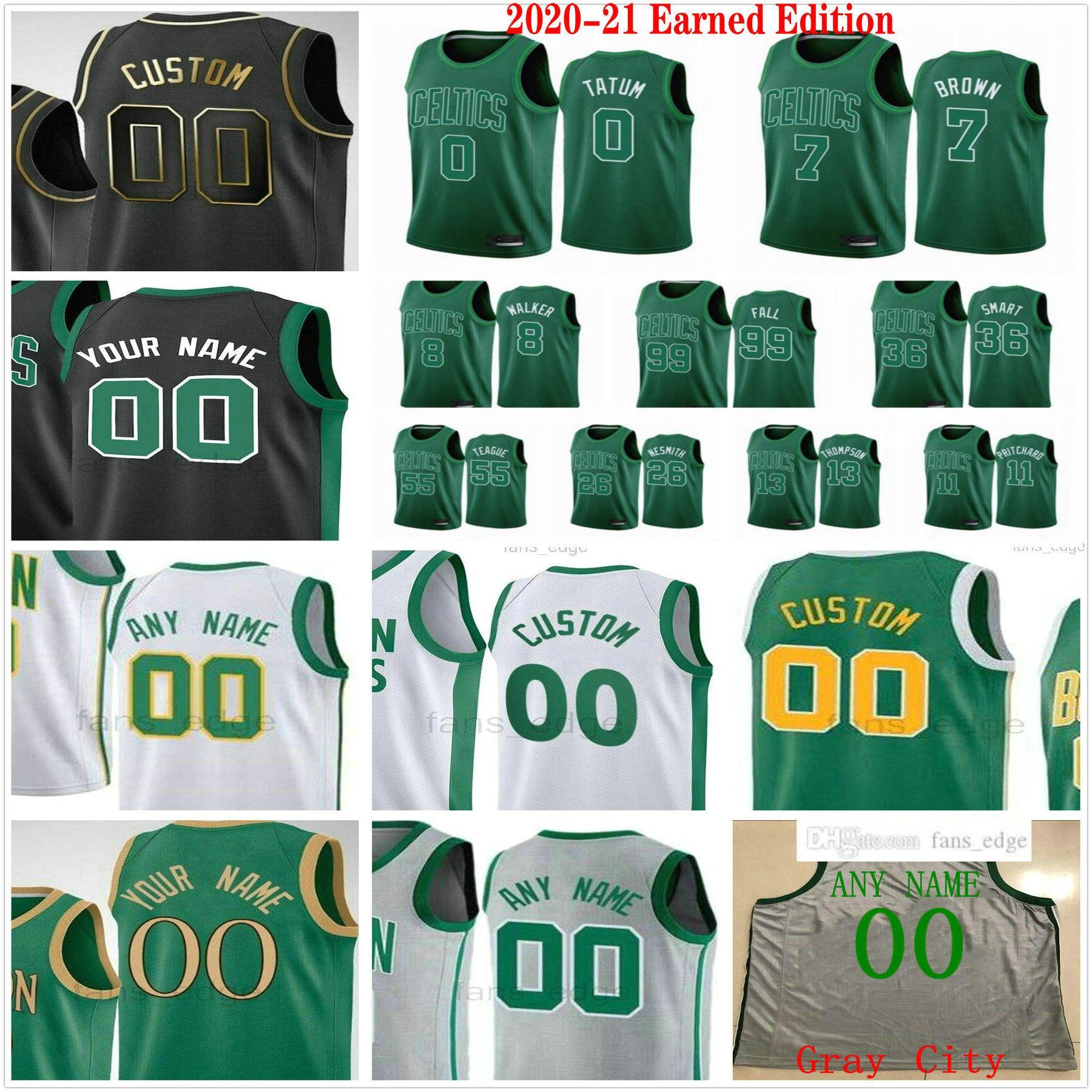 مخصص مطبوعة 2020-21 Edition Edition Jayson 0 Tatum Kemba Jaylen 8 Walker 7 Brown 11 Payton Pritchard الرجال امرأة الاطفال كرة السلة الفانيلة