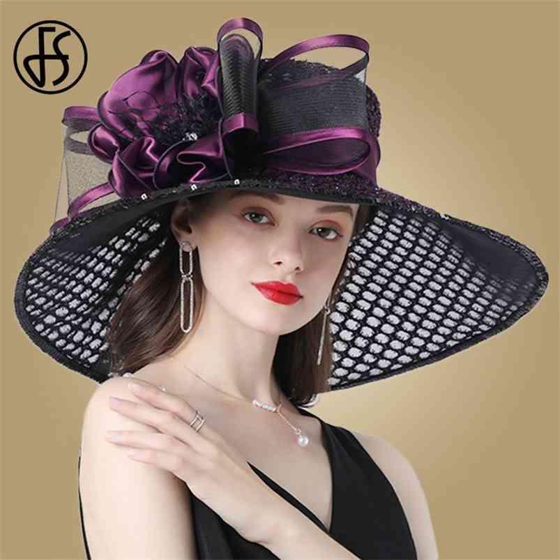 Fs roxo senhoras fascinator chapéus casamento kentucky derby para mulheres flor grande borda larga fedora organza chapéu igreja 210608