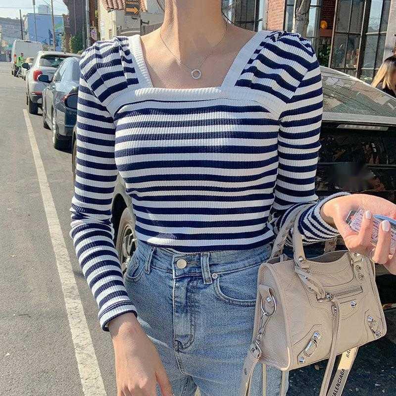 Womengaga Koreaner Frühling Sommer Tops Sexy Slim Slim Square Kragen Bottoming Gestreiftes elastisches T-Shirt Asien Mädchen T-Shirts 9EBP 210603