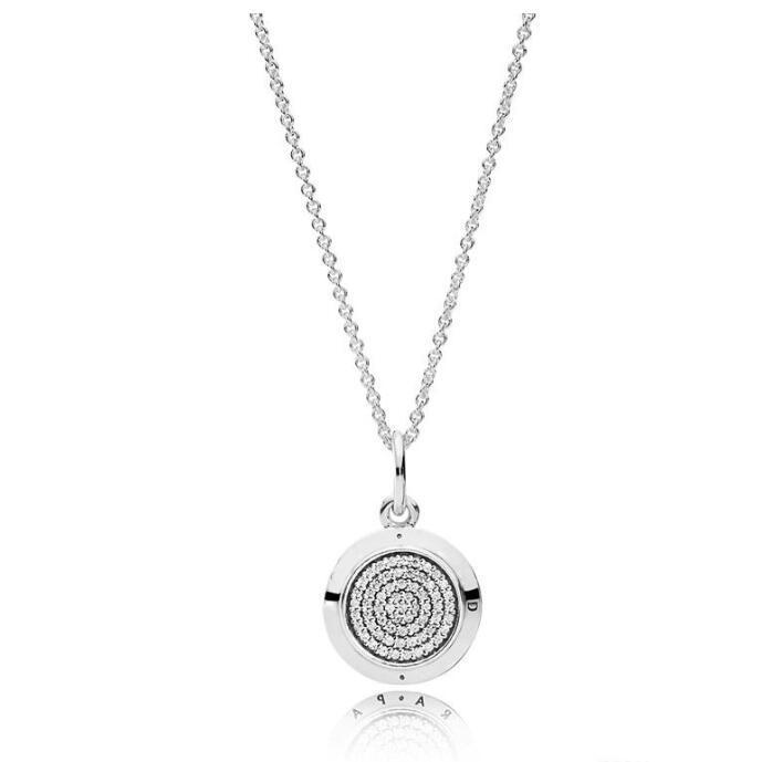925 스털링 실버 시그너처 펜던트 목걸이 Pandora CZ 다이아몬드 디스크 체인 목걸이를위한 원래 상자 여성을위한