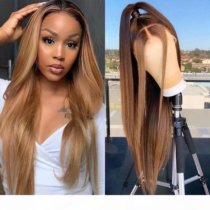 Bib 13x4 прямой медовый белокурый ombre выделение 150% кружева передние человеческие волосы парики для женщин Remy бразильский предварительно сорванный парик закрытия