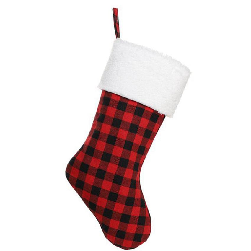 22 * 46cm Calze natalizie Decor Trees Christmas Trees Ornament Buffalo Rosso Plaid Calza Calza Calze Sacchetti Borse Regali Xmas Borsa Cyz3228 Mare Shipping