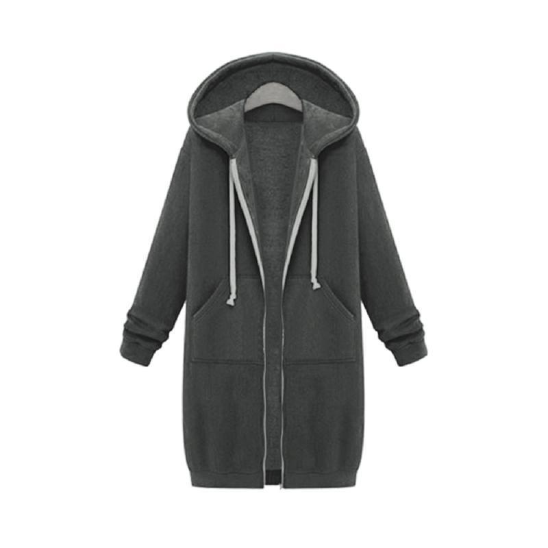 جاكيتات المرأة كم كاملة جيوب هوديس السببية الخريف الشتاء معطف طويل الصلبة أبلى zip up مقنع المرأة سترة زائد الحجم S-5XL