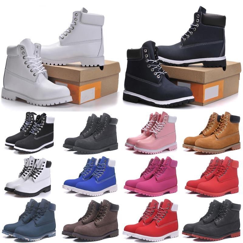 Mode Männer Boots Designer Mens Womens Lederschuhe Top Qualität Knöchel Winterstiefel Für Cowboy Gelb Rot Blau Schwarz Rosa Wanderarbeit 36-45