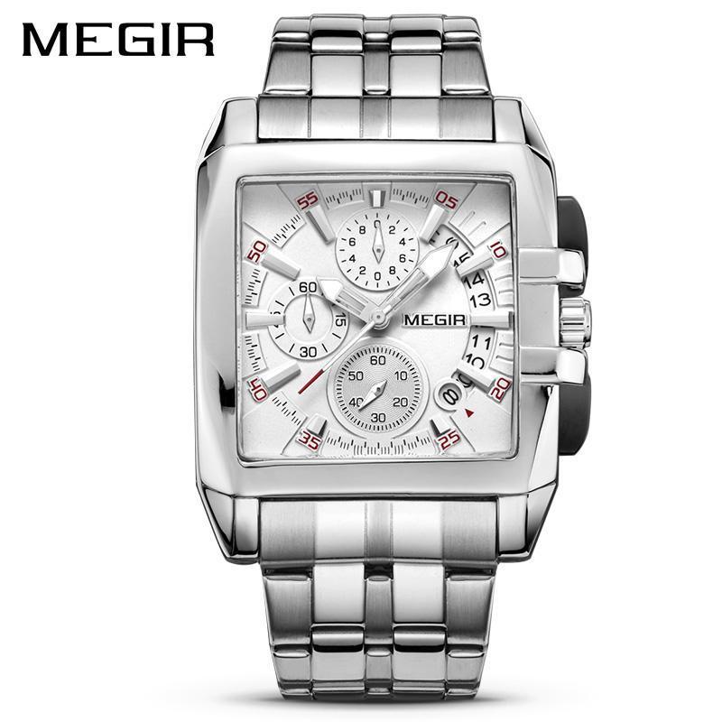 Armbanduhren Megir Original Luxus Herrenuhr Edelstahl Herren Quarz Armbanduhren Business Big Dial Relogio Masculino 2021