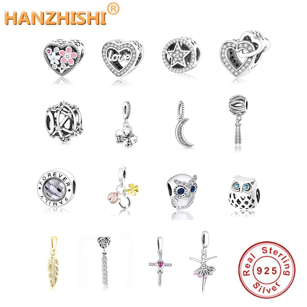 Convient à Original Pandora Argent Charmes Bracelet DIY Bijoux Mode 925 Sterling Argent Owl Family Tree Boy Moon Heart Perles Charms Q0225