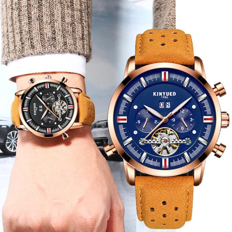 Armbanduhren kinyued männer uhr edelstahl mondphasen piano modellierung militär mechanisches skeleton sport kalender uhr relojes hombre