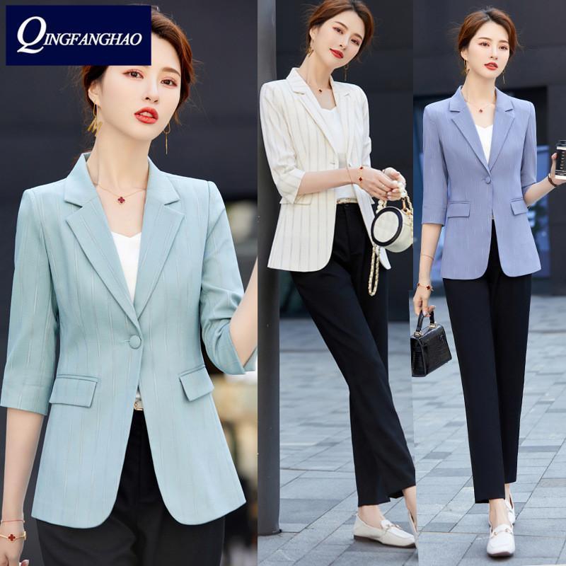 Trajes de mujer Blazers Spring Summer Manguera de la mitad de alta calidad Blazer Blazer Office Wear Chaqueta Capa de negocios