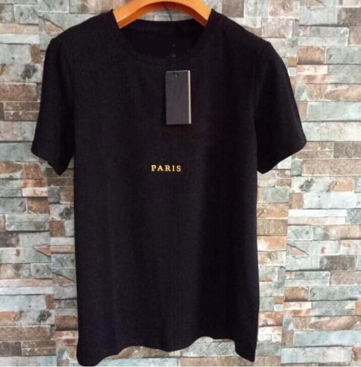 Hombres camiseta hombres sueltos camisetas letras París impresión verano transpirable mangas cortas arriba venta camiseta hombres mujeres camisetas tamaño s-3xl