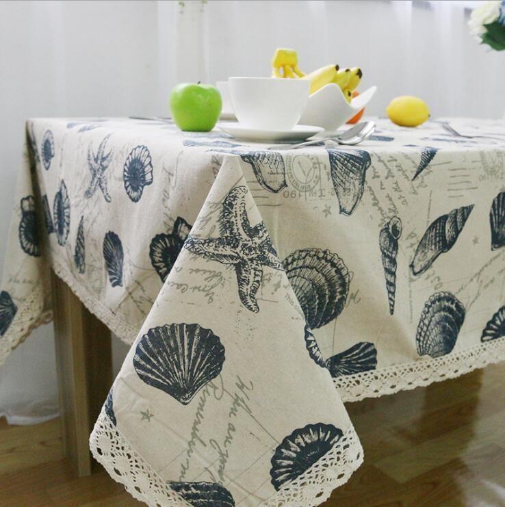 Скатерть раковины океан стиль настольная крышка льняных хлопка европейские скатерти прямоугольные 9 размеров.