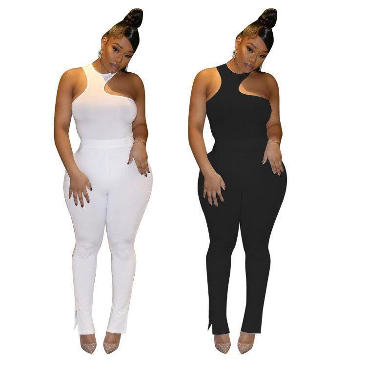 2021 Nova Feminina Casual Simples Sexy Cor Sólida Assimétrica Pit Strip Throx Envolvido Calças Divididas De Duas Peças Sets Slim Sem Mangas Calças Terno