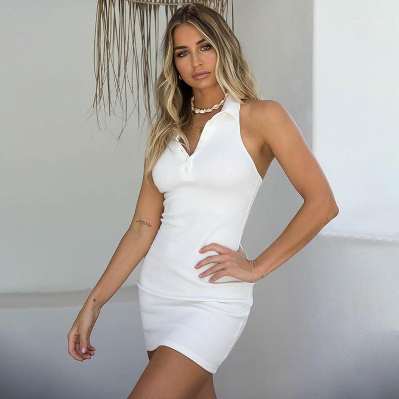 Bayan Elbiseler Seksi Backless Halter Polo Elbise Düğmesi V Boyun Bodycon Elbiseler Sıska Yaz